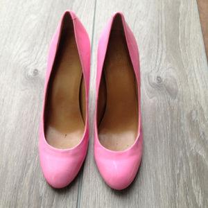 J crew patent leather pink Paulina pumps